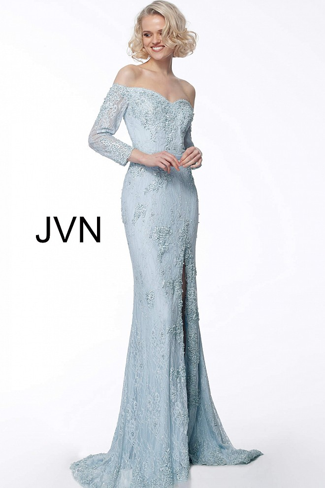 Light Blue Off the Shoulder Lace Evening Dress JVN68602