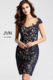 Jvn Navy and Nude Fitted Lace Cocktail Dress JVN28104