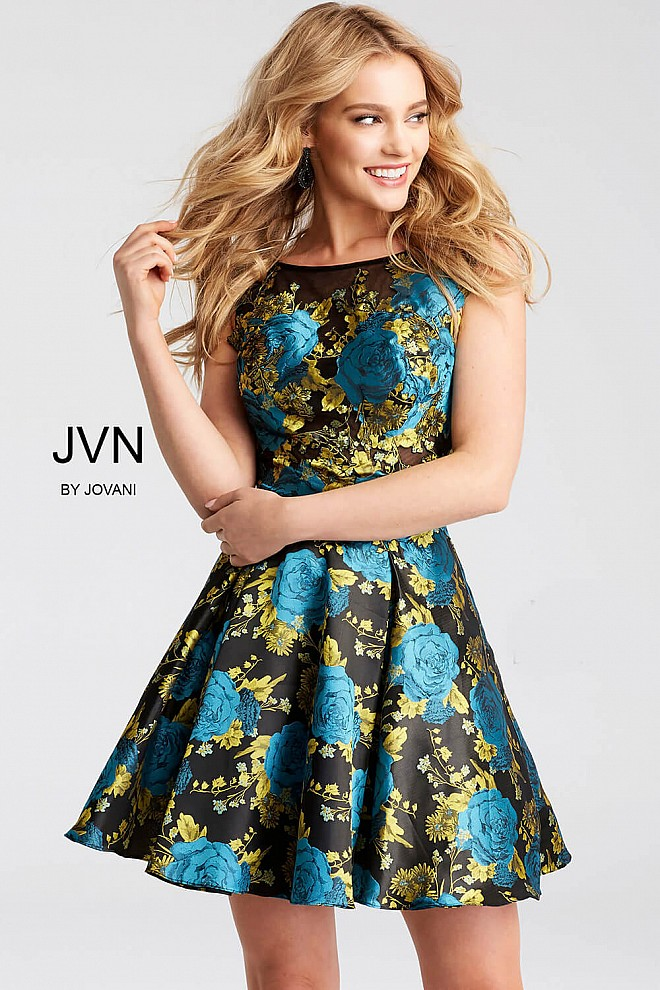 Print Sleeveless Fit and Flare Short Dress JVN53115