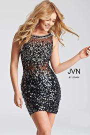 Jvn Black Fitted Beaded Short Dress JVN32403