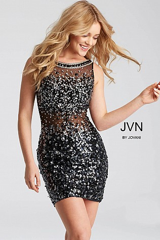 Black Fitted Beaded Short Dress JVN32403