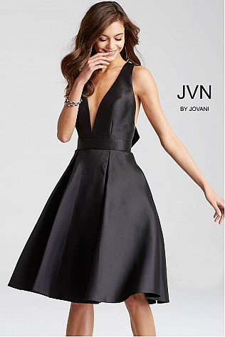 Black Fit and Flare Sleeveless Knee Length Dress JVN50075