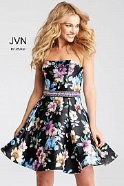 Jvn Multi Floral Print Fit and Flare Short Dress JVN53109