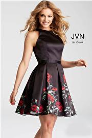 Jvn Black Floral Print Fit and Flare Short Dress JVN53197
