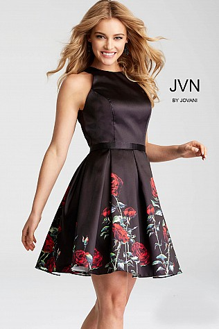 Black Floral Print Fit and Flare Short Dress JVN53197