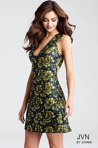 Green Floral Print Sleeveless V Neck Short Dress JVN53207