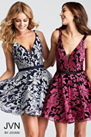 Jvn Two Tone Fit and Flare V Neck Short Dress JVN53382