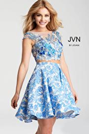 Jvn Blue Two Piece Floral Embroidered Bodice Short Dress JVN54468