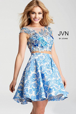 Blue Two Piece Floral Embroidered Bodice Short Dress JVN54468