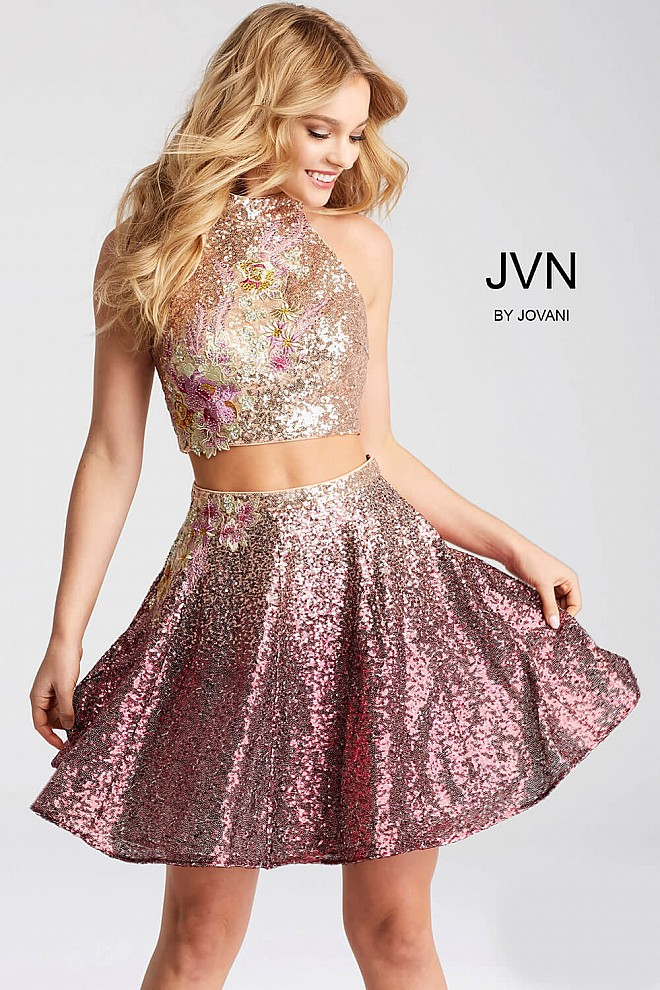 Violet Sequined Two Piece Fit and Flare Short Dress JVN54472