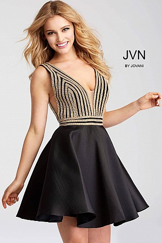 Black and Gold Fit and Flare V Neck Short Dress JVN54475