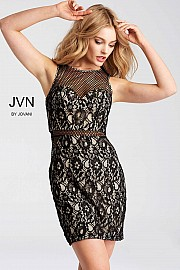 Black and Nude Fitted Lace Short Dress JVN54497