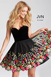 Jvn Black Floral Embroidered Strapless Short Dress JVN54508