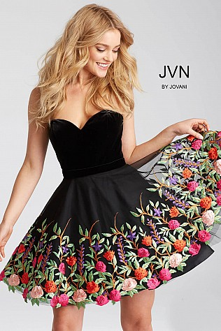 Black Floral Embroidered Strapless Short Dress JVN54508