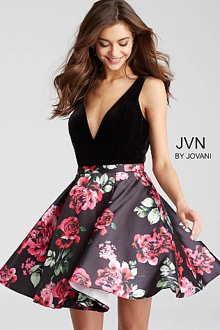 Black Multi Floral Print V Neck Short Dress JVN54510