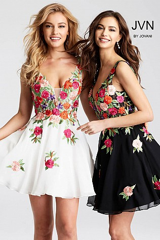 Fit and Flare Multi Color Floral Embroidered Short Dress JVN54513