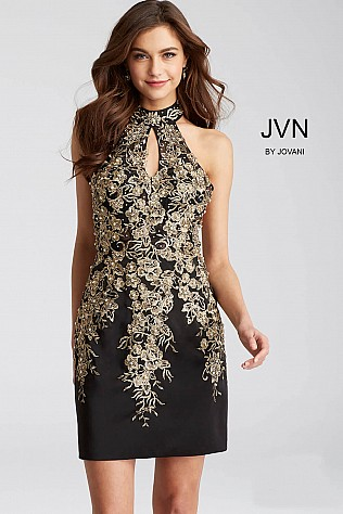 Black Fitted Embroidered High Neck Short Dress JVN54515