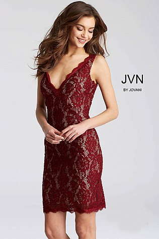Wine and Nude Sleeveless Lace Short Dress JVN55157