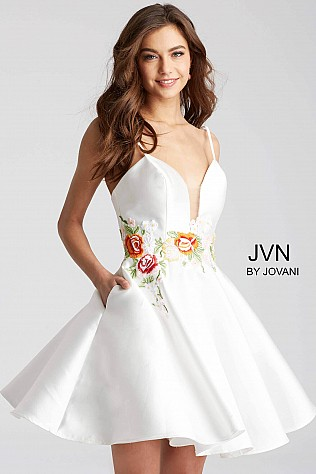 White Floral Embroidered Waist Fit and Flare Short Dress JVN56098