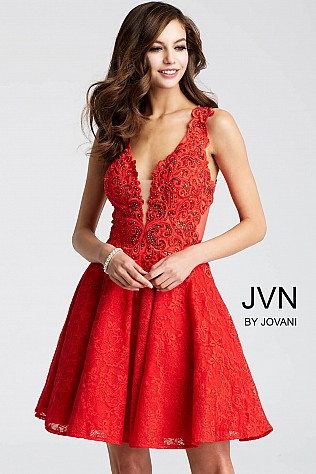 Red Embroidered Fit and Flare Short Dress JVN45264