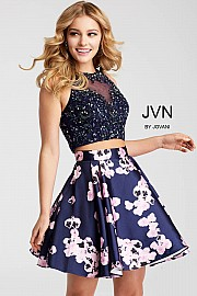 Jvn Two Piece Fit and Flare Embellished Short Dress JVN47306