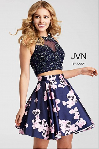 Two Piece Fit and Flare Embellished Short Dress JVN47306