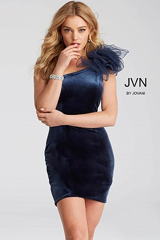 Slate Velvet Ruffle Shoulder Short Dress JVN52214