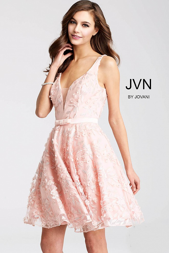 Pink Embroidered Fit and Flare Short Dress JVN53052