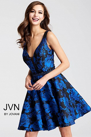 Black and Royal Embellished Belt Fit and Flare Short Dress JVN53112