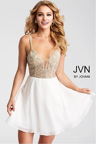 Ivory and Gold Chiffon Embellished Bodice Short Dress JVN53178