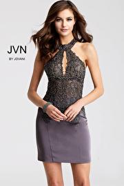 Jvn Charcoal Embellished High Key Hole Neck Short Dress JVN53179