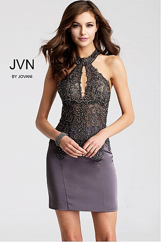Charcoal Embellished High Key Hole Neck Short Dress JVN53179