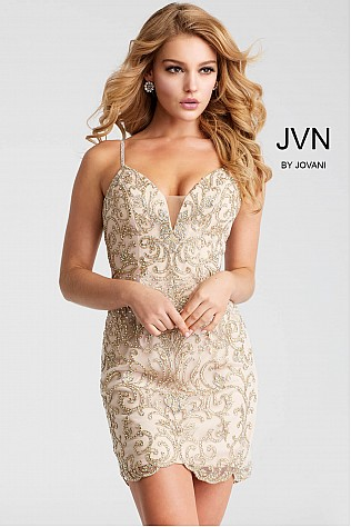 Gold Beaded Fitted Spaghetti Straps Short Dress JVN53184