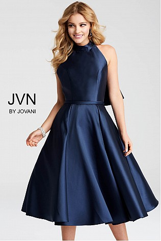 Navy Below The Knee Backless Cocktail Dress JVN53218