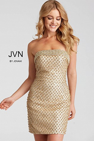 Gold Embellished Strapless Form Fitting Short Dress JVN53341