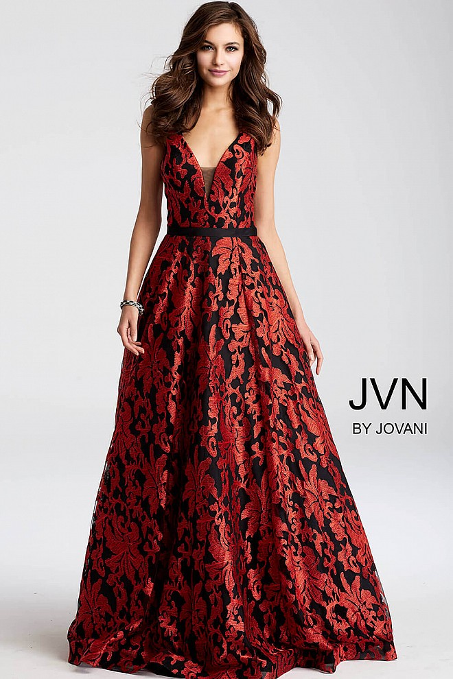 Black red long A line embroidered sleeveless v neck prom dress.