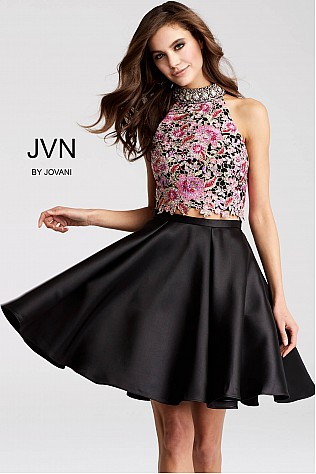 Black Two Piece Floral Embroidered Sleeveless Short Dress JVN54474
