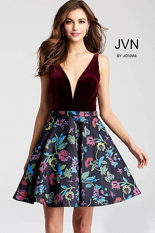Multi Color Velvet V Neck Bodice Short Dress JVN54479