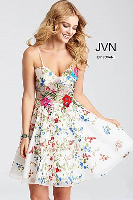 White Floral Embroidered Fit and Flare Short Dress JVN54557