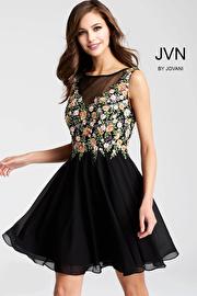 Jvn Black Floral Embroidered Chiffon Short Dress JVN54561