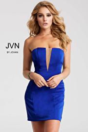 Royal Fitted Plunging Neckline Short Dress JVN55144