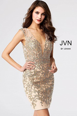 Nude Embellished Fitted Backless Short Dress JVN55145