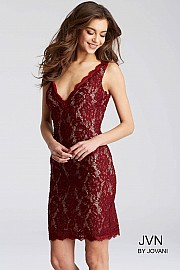Jvn Wine and Nude Sleeveless Lace Short Dress JVN55157