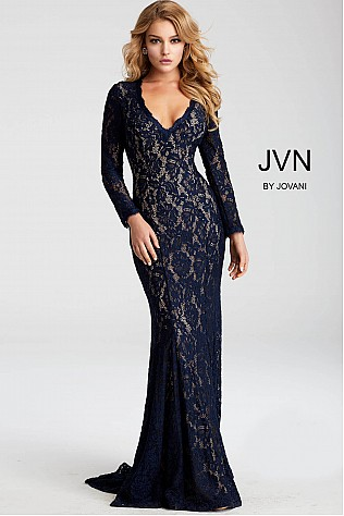 Navy Lace Fitted Long Sleeve Evening Dress JVN55158