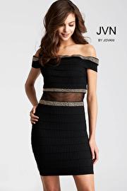 Jvn Black Off the Shoulder Sheer Waist Short Dress JVN55237