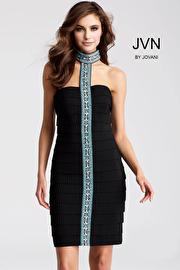 Black Fitted High Neck Short Bandage Dress JVN55238