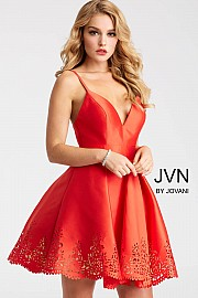 Jvn Red Fit and Flare Laser Cut Short Dress JVN55376