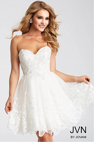 White Embroidered Strapless Short Dress JVN55383