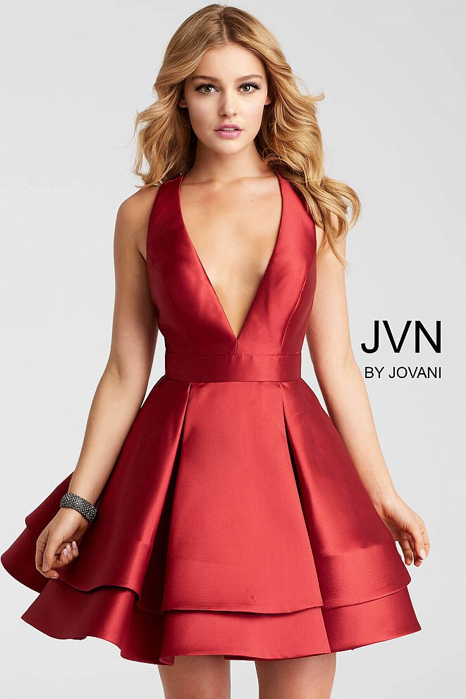 JVN55413 Wine Fit and Flare Criss Cross Back Short Dress