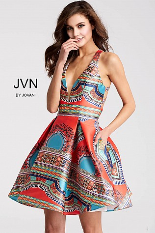 Multi Print Fit and Flare Racer Back Short Dress  JVN57121